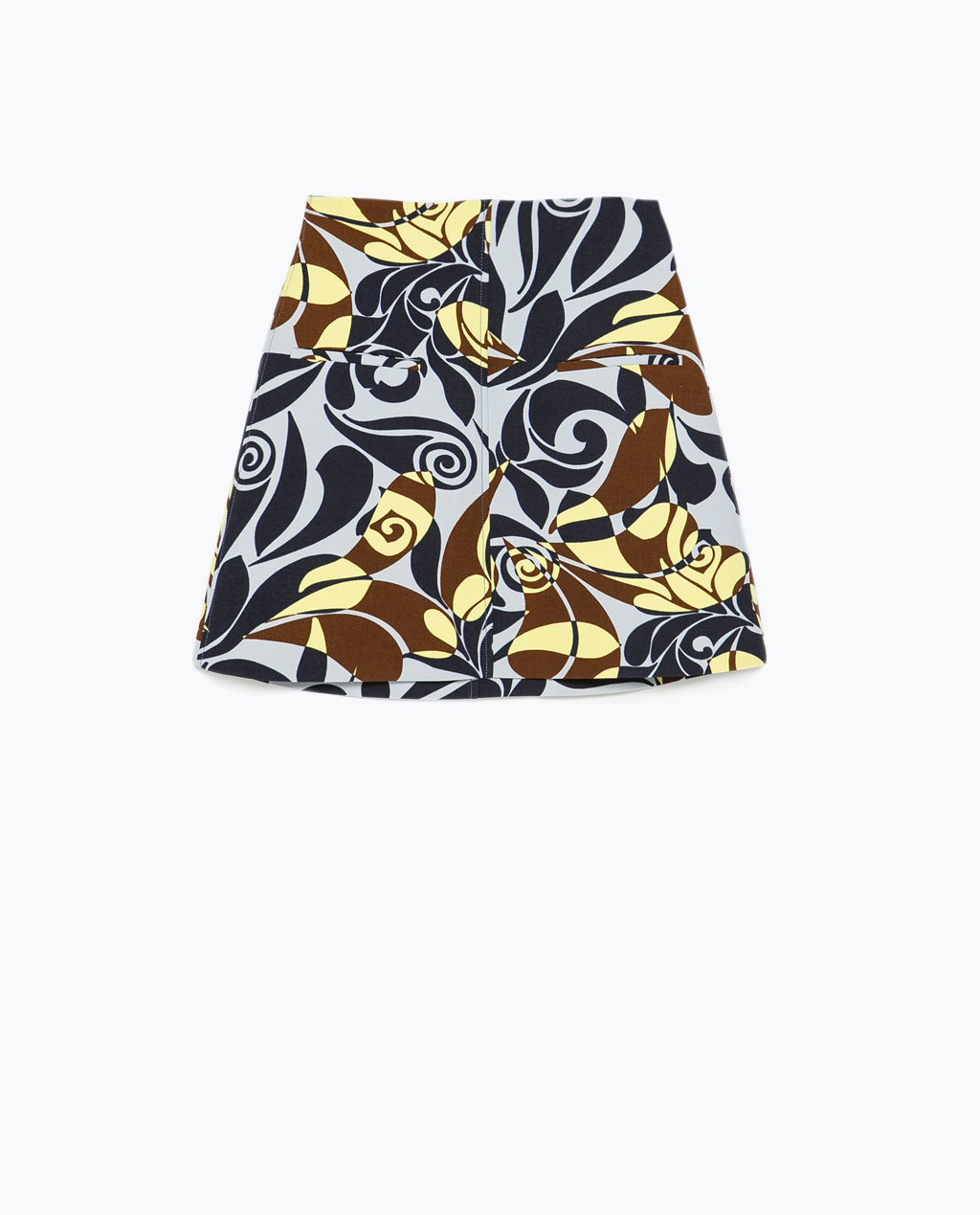 Printed Flared Miniskirt - length: mini; fit: tailored/fitted; waist: high rise; occasions: casual, evening, creative work; style: mini skirt; fibres: polyester/polyamide - 100%; predominant colour: multicoloured; texture group: cotton feel fabrics; pattern type: fabric; pattern: patterned/print; trends: seventies retro; season: s/s 2015; pattern size: big & busy (bottom); multicoloured: multicoloured; wardrobe: highlight