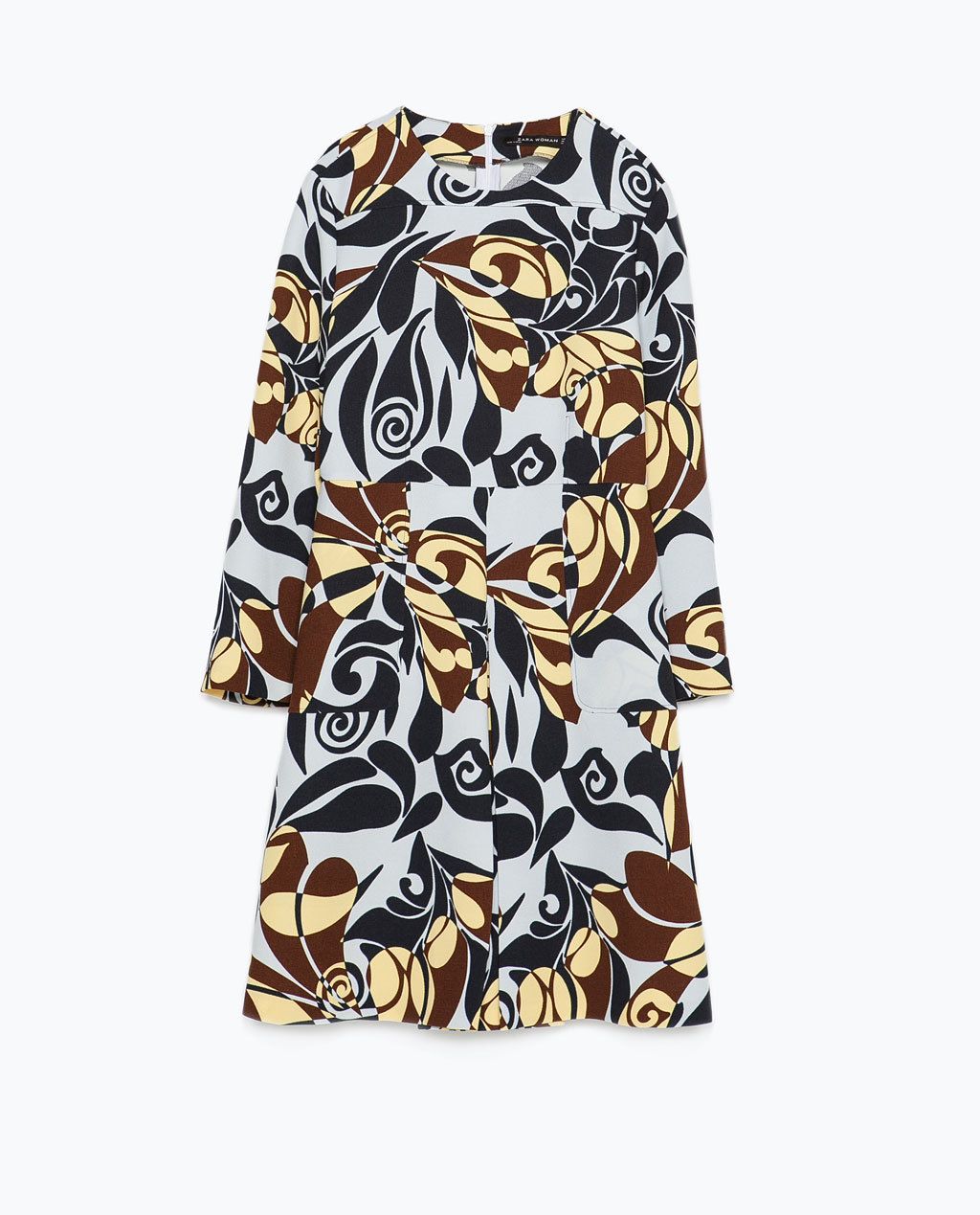 Printed Dress - style: shift; length: mid thigh; occasions: casual, creative work; fit: soft a-line; neckline: crew; predominant colour: multicoloured; sleeve length: long sleeve; sleeve style: standard; pattern type: fabric; pattern: florals; texture group: woven light midweight; season: s/s 2015; multicoloured: multicoloured