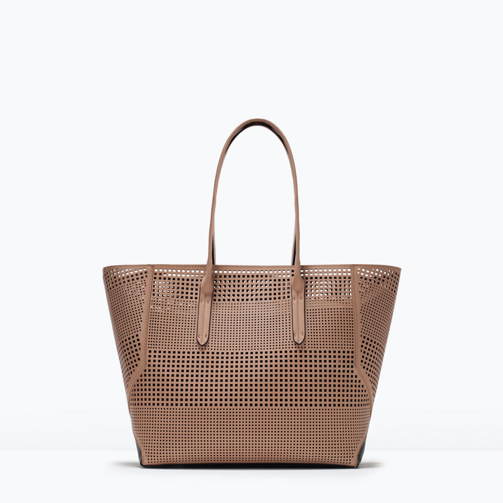 Perforated Shopper Bag - predominant colour: tan; occasions: casual, creative work; style: tote; length: shoulder (tucks under arm); size: standard; material: faux leather; pattern: plain; finish: plain; season: s/s 2015; wardrobe: highlight