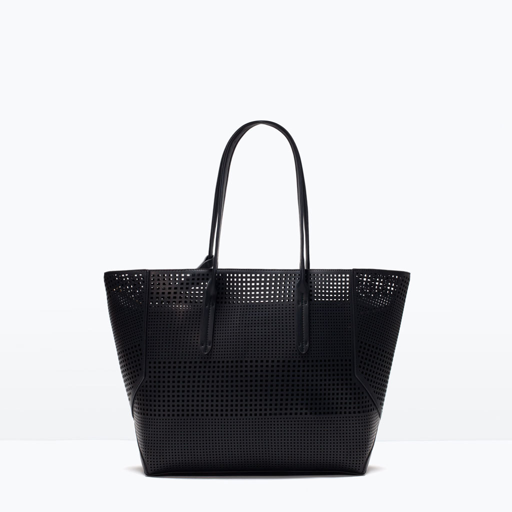 Perforated Shopper Bag - predominant colour: black; occasions: casual, creative work; style: tote; length: shoulder (tucks under arm); size: standard; material: faux leather; pattern: plain; finish: plain; season: s/s 2015