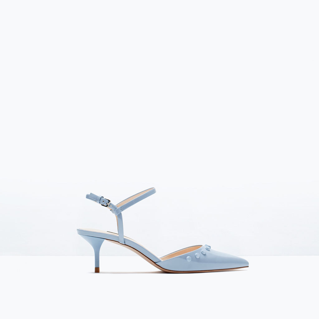 Kitten Heel Studded Shoes - predominant colour: pale blue; occasions: evening, occasion; material: faux leather; heel height: mid; embellishment: studs; heel: kitten; toe: pointed toe; style: slingbacks; finish: plain; pattern: plain; season: s/s 2015; wardrobe: event