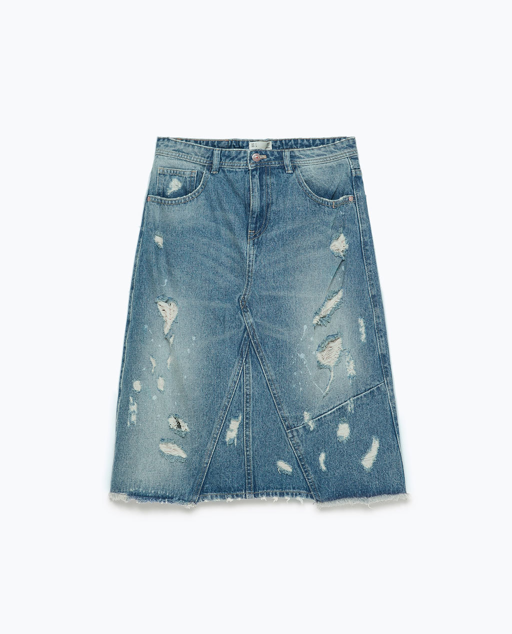 Distressed Denim Pencil Skirt - length: below the knee; pattern: plain; waist: mid/regular rise; predominant colour: denim; occasions: casual; style: a-line; fibres: cotton - 100%; texture group: denim; fit: straight cut; pattern type: fabric; season: s/s 2015; wardrobe: basic