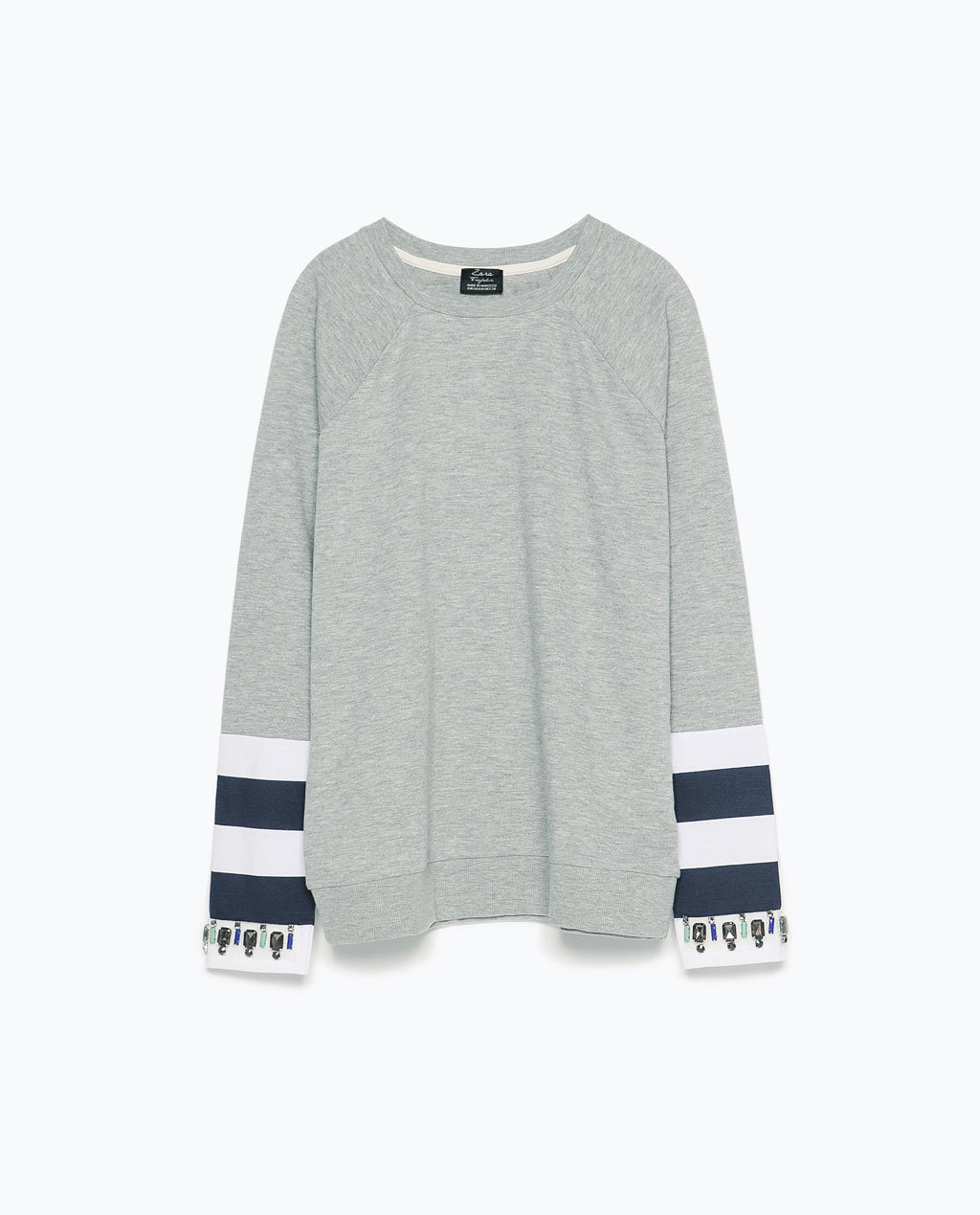 Sweatshirt With Applique Sleeve - pattern: striped; style: sweat top; predominant colour: mid grey; secondary colour: black; occasions: casual; length: standard; fibres: cotton - mix; fit: loose; neckline: crew; sleeve length: long sleeve; sleeve style: standard; pattern type: fabric; texture group: jersey - stretchy/drapey; season: s/s 2015