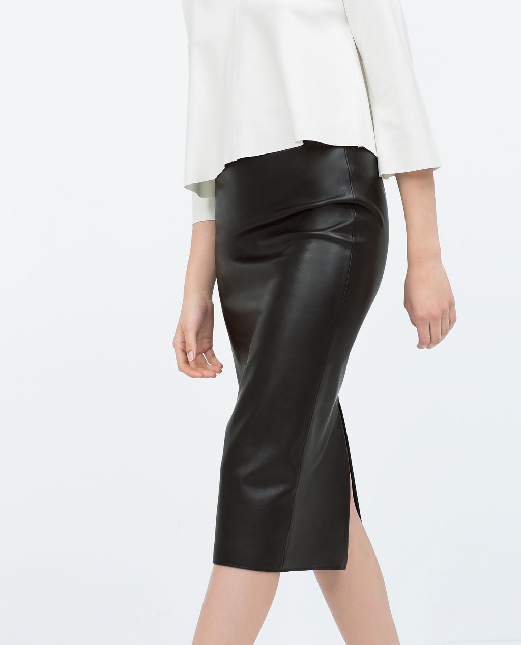 Faux Leather Midi Pencil Skirt - length: below the knee; pattern: plain; style: pencil; fit: tailored/fitted; waist: mid/regular rise; predominant colour: black; occasions: evening, work, creative work; fibres: polyester/polyamide - 100%; texture group: leather; pattern type: fabric; season: s/s 2015