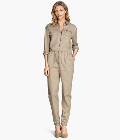 Twill Jumpsuit - length: standard; neckline: shirt collar/peter pan/zip with opening; fit: tailored/fitted; pattern: plain; bust detail: subtle bust detail; predominant colour: stone; occasions: casual, creative work; fibres: cotton - 100%; sleeve length: 3/4 length; sleeve style: standard; texture group: cotton feel fabrics; style: jumpsuit; pattern type: fabric; season: s/s 2015; wardrobe: highlight