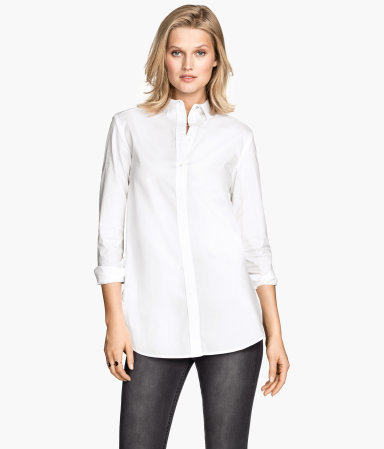 Long Shirt - neckline: shirt collar/peter pan/zip with opening; pattern: plain; style: shirt; predominant colour: white; occasions: casual, work, creative work; length: standard; fibres: cotton - 100%; fit: straight cut; sleeve length: 3/4 length; sleeve style: standard; texture group: cotton feel fabrics; pattern type: fabric; season: s/s 2015; wardrobe: basic