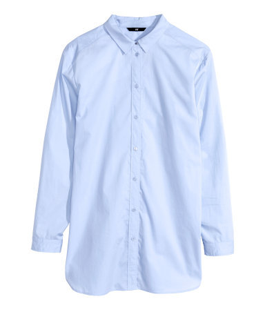Long Shirt - neckline: shirt collar/peter pan/zip with opening; pattern: plain; style: shirt; predominant colour: pale blue; occasions: casual, work, creative work; length: standard; fibres: cotton - 100%; fit: straight cut; sleeve length: long sleeve; sleeve style: standard; texture group: cotton feel fabrics; pattern type: fabric; season: s/s 2015