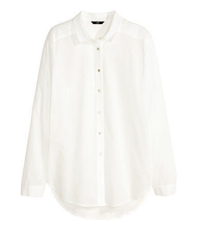 Cotton Shirt - neckline: shirt collar/peter pan/zip with opening; pattern: plain; length: below the bottom; style: shirt; predominant colour: white; occasions: casual, work, creative work; fibres: cotton - 100%; fit: loose; sleeve length: long sleeve; sleeve style: standard; texture group: cotton feel fabrics; season: s/s 2015