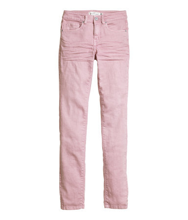 Twill Trousers Slim Fit - length: standard; pattern: plain; waist: mid/regular rise; predominant colour: blush; occasions: casual; fibres: cotton - mix; texture group: denim; fit: slim leg; pattern type: fabric; style: standard; season: s/s 2015; wardrobe: basic