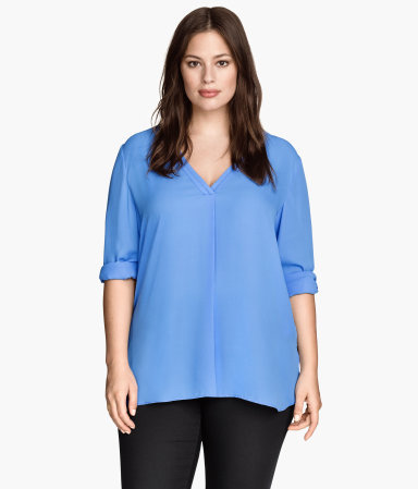 + V Neck Blouse - neckline: v-neck; pattern: plain; style: blouse; predominant colour: pale blue; length: standard; fit: straight cut; sleeve length: 3/4 length; sleeve style: standard; texture group: other - light to midweight; season: s/s 2015; wardrobe: highlight