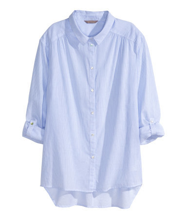 + Cotton Shirt - neckline: shirt collar/peter pan/zip with opening; pattern: plain; length: below the bottom; style: shirt; predominant colour: pale blue; occasions: casual, creative work; fibres: cotton - 100%; fit: straight cut; sleeve length: 3/4 length; sleeve style: standard; texture group: cotton feel fabrics; season: s/s 2015; wardrobe: highlight