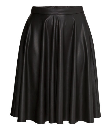 + Circular Skirt - length: below the knee; pattern: plain; style: full/prom skirt; fit: loose/voluminous; waist: high rise; predominant colour: black; occasions: evening, work, occasion; fibres: polyester/polyamide - 100%; hip detail: soft pleats at hip/draping at hip/flared at hip; texture group: leather; pattern type: fabric; season: s/s 2015