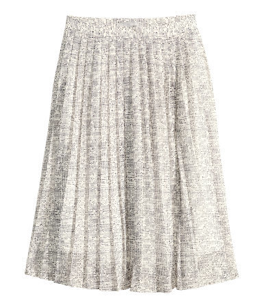 Pleated Skirt - length: below the knee; fit: loose/voluminous; style: pleated; waist: high rise; predominant colour: ivory/cream; secondary colour: black; occasions: casual, occasion, creative work; fibres: polyester/polyamide - 100%; texture group: sheer fabrics/chiffon/organza etc.; pattern type: fabric; pattern: patterned/print; season: s/s 2015; pattern size: standard (bottom); wardrobe: highlight