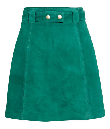 Suede Skirt - length: mid thigh; pattern: plain; fit: loose/voluminous; waist: high rise; waist detail: belted waist/tie at waist/drawstring; predominant colour: emerald green; secondary colour: gold; occasions: casual, creative work; style: a-line; fibres: leather - 100%; pattern type: fabric; texture group: suede; season: s/s 2015; wardrobe: highlight