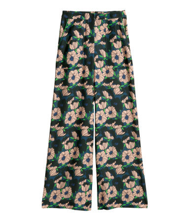 Wide Trousers - length: standard; waist: mid/regular rise; occasions: casual, occasion; predominant colour: multicoloured; fit: wide leg; pattern type: fabric; pattern: florals; texture group: woven light midweight; style: standard; season: s/s 2015; pattern size: standard (bottom); multicoloured: multicoloured