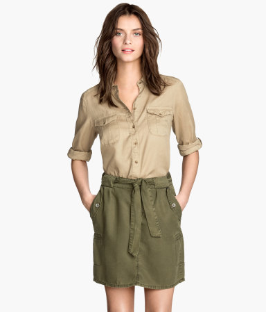Lyocell Cargo Skirt - length: mid thigh; pattern: plain; style: straight; waist detail: belted waist/tie at waist/drawstring; waist: mid/regular rise; predominant colour: khaki; occasions: casual, creative work; fibres: viscose/rayon - 100%; hip detail: adds bulk at the hips; texture group: cotton feel fabrics; fit: straight cut; pattern type: fabric; season: s/s 2015; wardrobe: basic