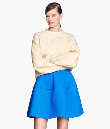 Flared Skirt - length: mid thigh; pattern: plain; style: full/prom skirt; fit: loose/voluminous; waist: high rise; predominant colour: diva blue; occasions: casual, evening, occasion, creative work; fibres: polyester/polyamide - stretch; pattern type: fabric; texture group: other - light to midweight; season: s/s 2015; wardrobe: highlight