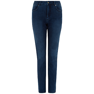 Skinny Jeans, Pale Blue - style: skinny leg; length: standard; pattern: plain; waist: high rise; pocket detail: traditional 5 pocket; predominant colour: navy; occasions: casual; fibres: cotton - stretch; jeans detail: dark wash, washed/faded; texture group: denim; pattern type: fabric; season: s/s 2015; wardrobe: basic