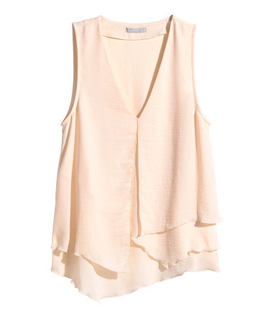 Asymmetric Top - neckline: low v-neck; pattern: plain; sleeve style: sleeveless; predominant colour: nude; occasions: casual, creative work; length: standard; style: top; fibres: polyester/polyamide - 100%; fit: loose; sleeve length: sleeveless; texture group: crepes; season: s/s 2015; wardrobe: basic