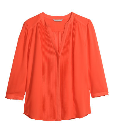 Blouse With Pin Tucks - pattern: plain; style: blouse; predominant colour: bright orange; occasions: casual, creative work; length: standard; neckline: collarstand & mandarin with v-neck; fibres: polyester/polyamide - 100%; fit: straight cut; sleeve length: long sleeve; sleeve style: standard; pattern type: fabric; texture group: other - light to midweight; season: s/s 2015; wardrobe: highlight