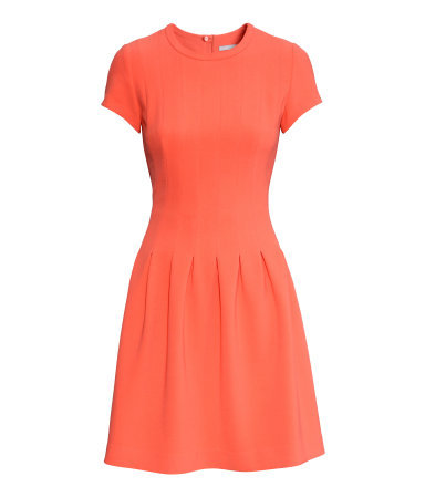 Pleated Dress - length: mid thigh; pattern: plain; predominant colour: coral; occasions: casual, evening, creative work; fit: fitted at waist & bust; style: fit & flare; fibres: polyester/polyamide - stretch; neckline: crew; hip detail: adds bulk at the hips; sleeve length: short sleeve; sleeve style: standard; texture group: crepes; pattern type: fabric; season: s/s 2015; wardrobe: highlight