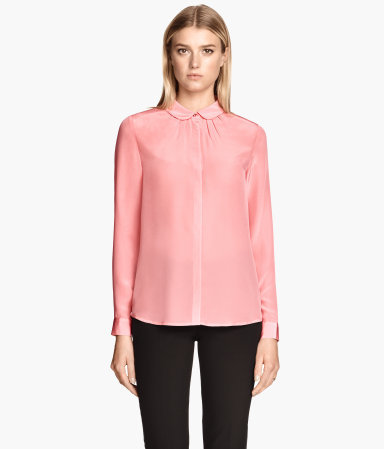 Silk Blouse - neckline: shirt collar/peter pan/zip with opening; pattern: plain; style: shirt; predominant colour: blush; occasions: casual, work, creative work; length: standard; fibres: silk - 100%; fit: body skimming; sleeve length: long sleeve; sleeve style: standard; texture group: silky - light; pattern type: fabric; season: s/s 2015