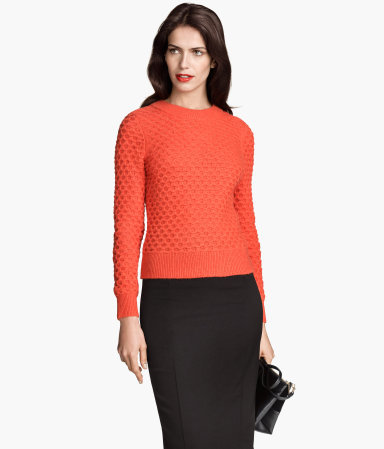 Knitted Jumper - pattern: plain; style: standard; predominant colour: bright orange; occasions: casual, creative work; length: standard; fibres: polyester/polyamide - mix; fit: slim fit; neckline: crew; sleeve length: long sleeve; sleeve style: standard; texture group: knits/crochet; pattern type: knitted - fine stitch; season: s/s 2015; wardrobe: highlight