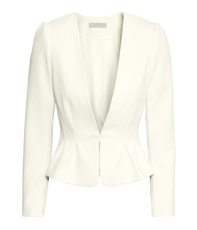 Figure Fit Jacket - pattern: plain; style: single breasted blazer; collar: round collar/collarless; predominant colour: white; occasions: evening, occasion, creative work; fit: tailored/fitted; fibres: polyester/polyamide - stretch; sleeve length: long sleeve; sleeve style: standard; collar break: low/open; pattern type: fabric; texture group: woven light midweight; season: s/s 2015; length: cropped