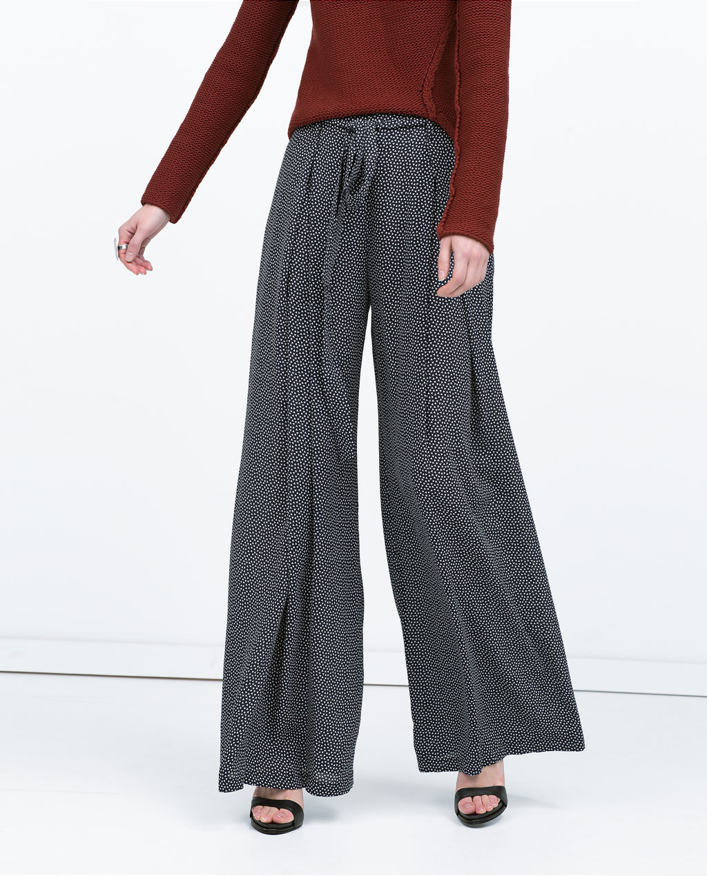 Printed Wide Legged Trousers - length: standard; waist detail: belted waist/tie at waist/drawstring; waist: mid/regular rise; secondary colour: white; predominant colour: black; occasions: casual, creative work; fit: wide leg; pattern type: fabric; pattern: patterned/print; texture group: woven light midweight; style: standard; season: s/s 2015; pattern size: standard (bottom); wardrobe: highlight