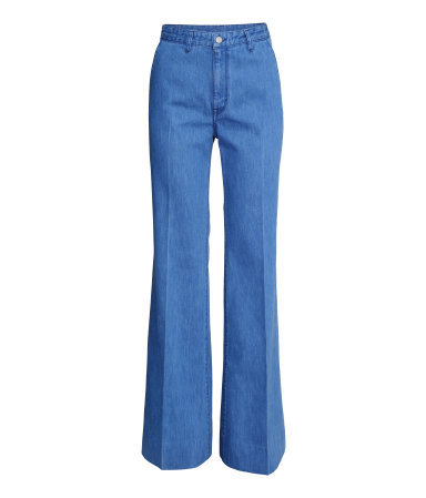 Wide Jeans - length: standard; pattern: plain; waist: high rise; style: wide leg; predominant colour: denim; occasions: casual, evening, creative work; fibres: cotton - stretch; texture group: denim; pattern type: fabric; trends: alternative denim; season: s/s 2015