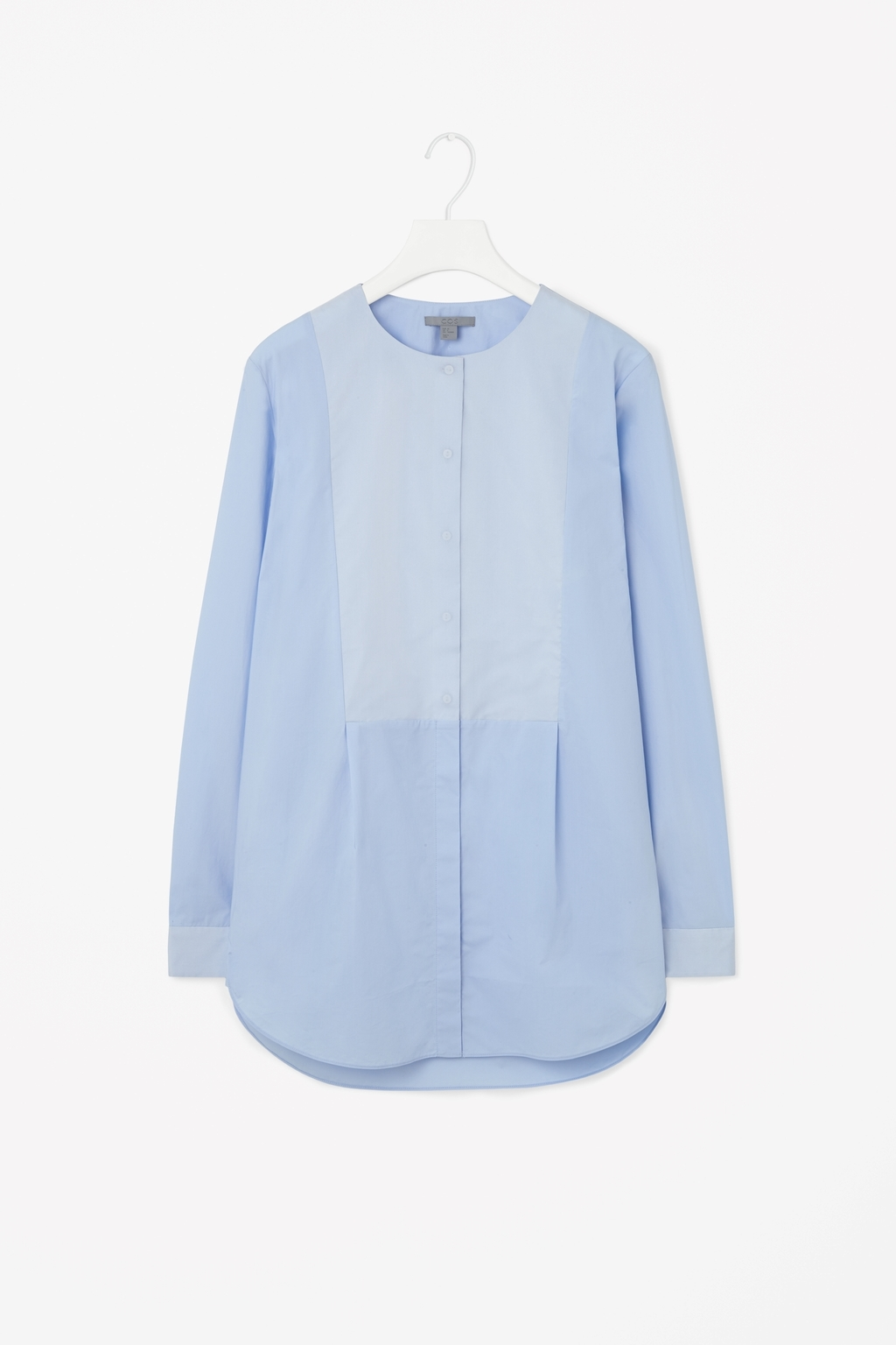 Silk Panel Shirt - neckline: round neck; pattern: plain; style: blouse; predominant colour: pale blue; occasions: casual, creative work; length: standard; fibres: silk - 100%; fit: straight cut; sleeve length: long sleeve; sleeve style: standard; texture group: silky - light; pattern type: fabric; season: s/s 2015; wardrobe: highlight