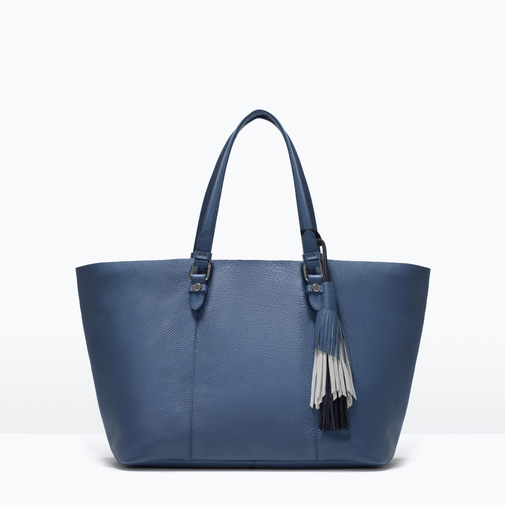 Tassel Leather Shopper - predominant colour: navy; occasions: casual, creative work; style: tote; length: shoulder (tucks under arm); size: oversized; material: leather; embellishment: tassels; pattern: plain; finish: plain; season: s/s 2015; wardrobe: investment