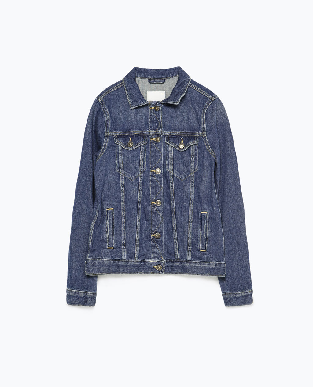 Denim Jacket - pattern: plain; style: denim; predominant colour: denim; occasions: casual, creative work; length: standard; fit: straight cut (boxy); fibres: cotton - stretch; collar: shirt collar/peter pan/zip with opening; sleeve length: long sleeve; sleeve style: standard; texture group: denim; collar break: high/illusion of break when open; pattern type: fabric; season: s/s 2015