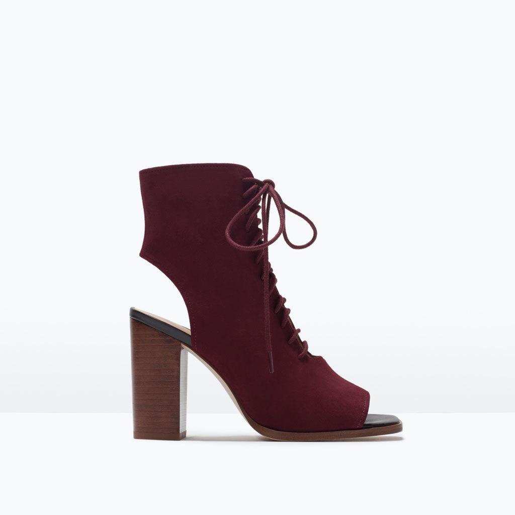 Lace Up Leather Ankle Boots - predominant colour: burgundy; occasions: casual, creative work; material: suede; heel height: high; heel: block; toe: open toe/peeptoe; boot length: ankle boot; style: standard; finish: plain; pattern: plain; season: s/s 2015; wardrobe: highlight