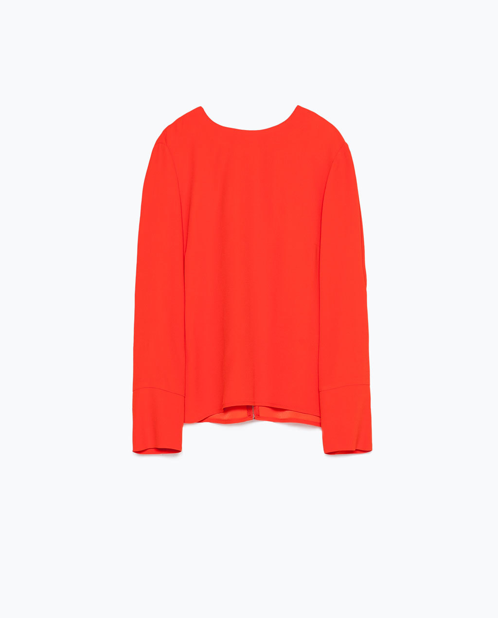 Back Zip Top - pattern: plain; predominant colour: bright orange; occasions: casual, creative work; length: standard; style: top; fibres: viscose/rayon - 100%; fit: straight cut; neckline: crew; sleeve length: long sleeve; sleeve style: standard; pattern type: fabric; texture group: other - light to midweight; season: s/s 2015; wardrobe: highlight