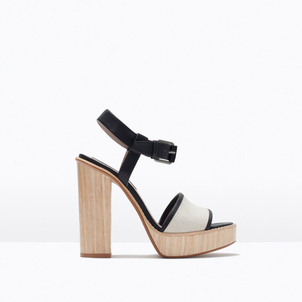 High Heel Platform Sandal - predominant colour: ivory/cream; secondary colour: black; occasions: casual, creative work; material: faux leather; heel height: high; ankle detail: ankle strap; heel: block; toe: open toe/peeptoe; style: strappy; finish: plain; pattern: colourblock; shoe detail: platform; season: s/s 2015; wardrobe: highlight