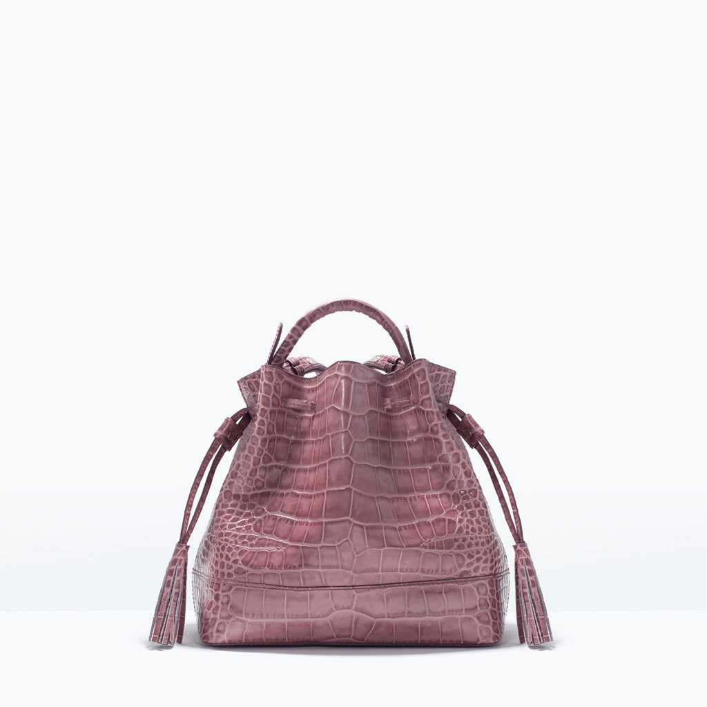 Mini Leather Bucket Bag - occasions: casual, creative work; style: onion bag; length: handle; size: standard; material: leather; pattern: plain; finish: plain; predominant colour: dusky pink; season: s/s 2015; wardrobe: highlight