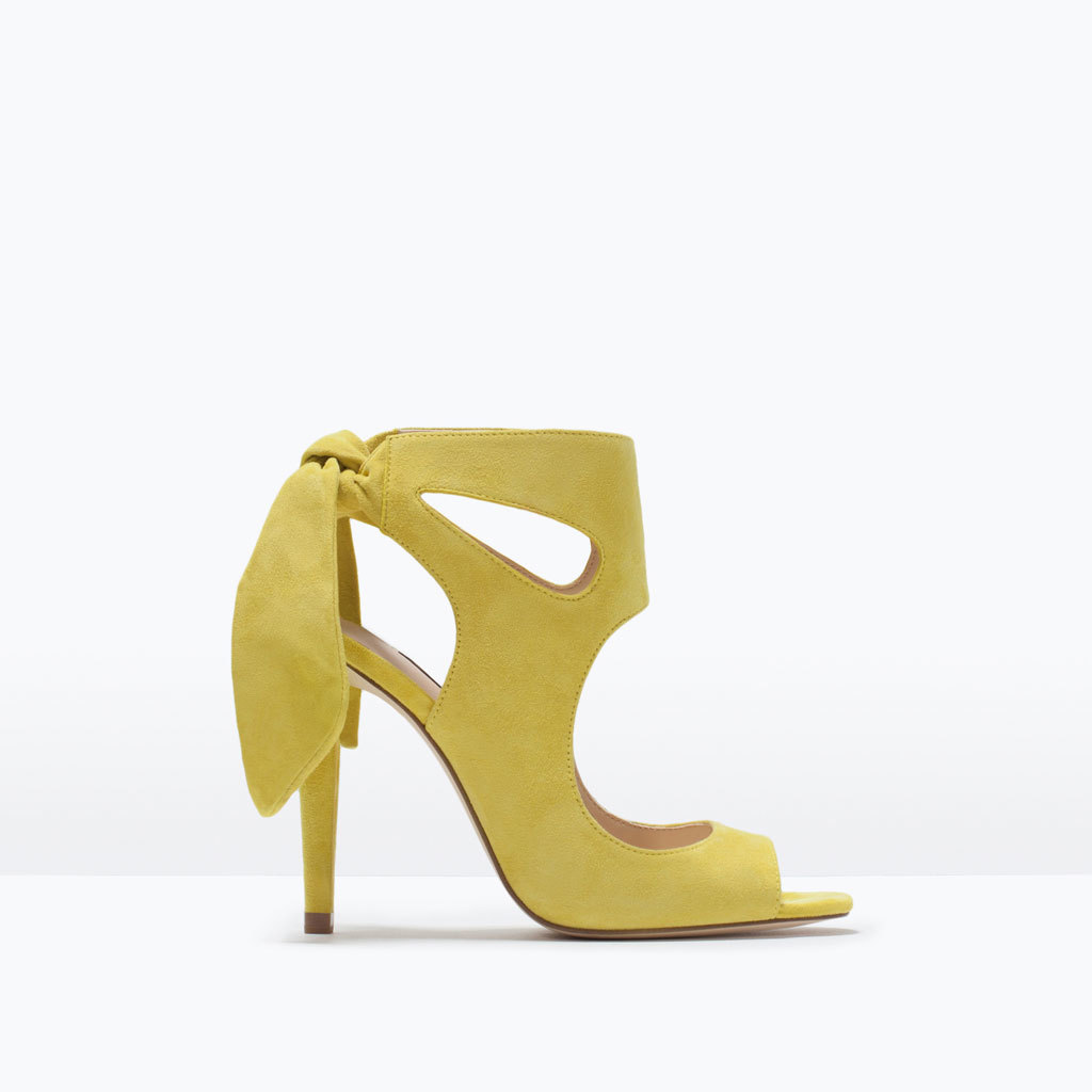 Leather High Heeled Sandals With Bow - predominant colour: yellow; occasions: evening, occasion; material: leather; heel height: high; ankle detail: ankle strap; heel: stiletto; toe: open toe/peeptoe; style: strappy; finish: plain; pattern: plain; season: s/s 2015; wardrobe: event