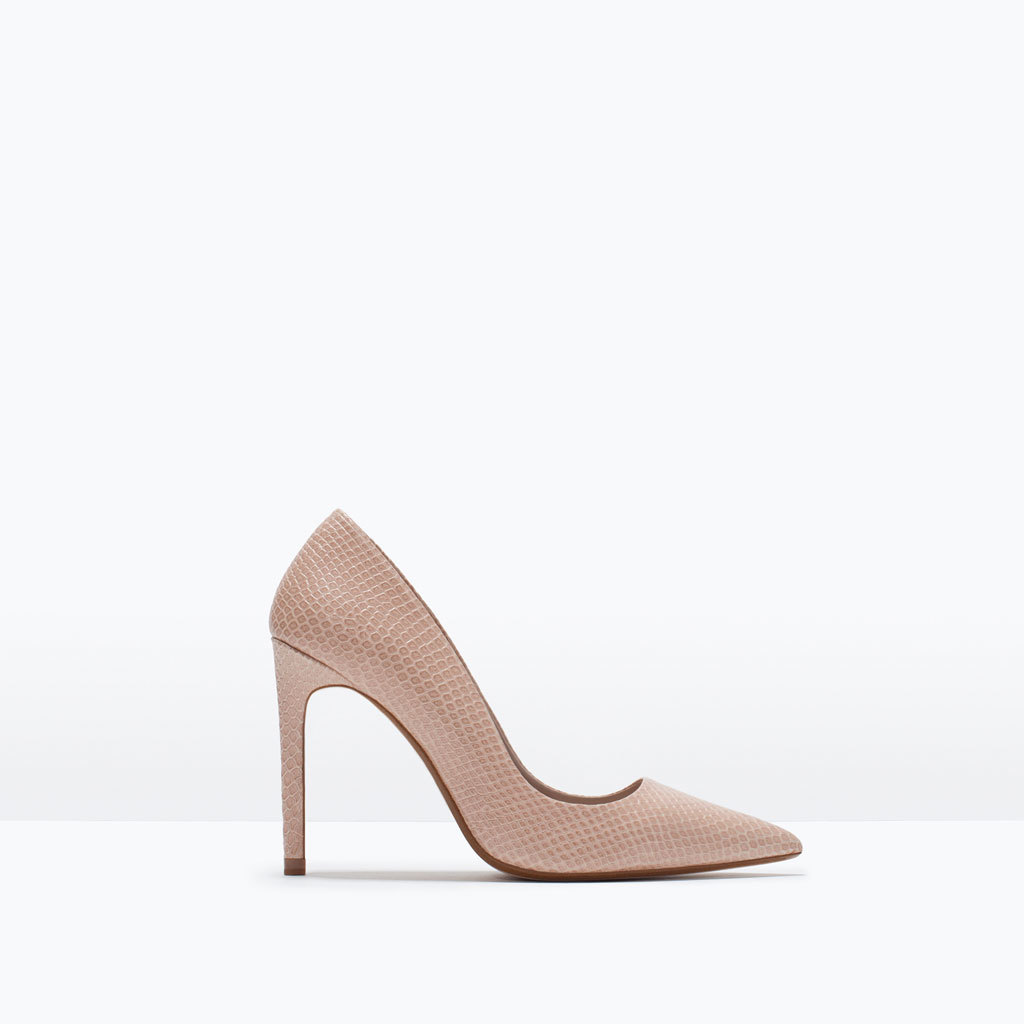 Leather Court Shoe - predominant colour: nude; occasions: evening, work, occasion; material: leather; heel: stiletto; toe: pointed toe; style: courts; finish: plain; pattern: plain; heel height: very high; season: s/s 2015