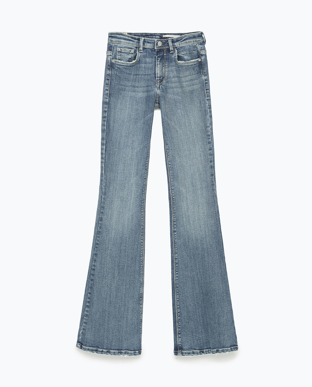 """Flare"" Jeans - style: flares; length: standard; pattern: plain; waist: high rise; pocket detail: traditional 5 pocket; predominant colour: denim; occasions: casual, creative work; fibres: cotton - stretch; jeans detail: whiskering, shading down centre of thigh; texture group: denim; pattern type: fabric; season: s/s 2015"