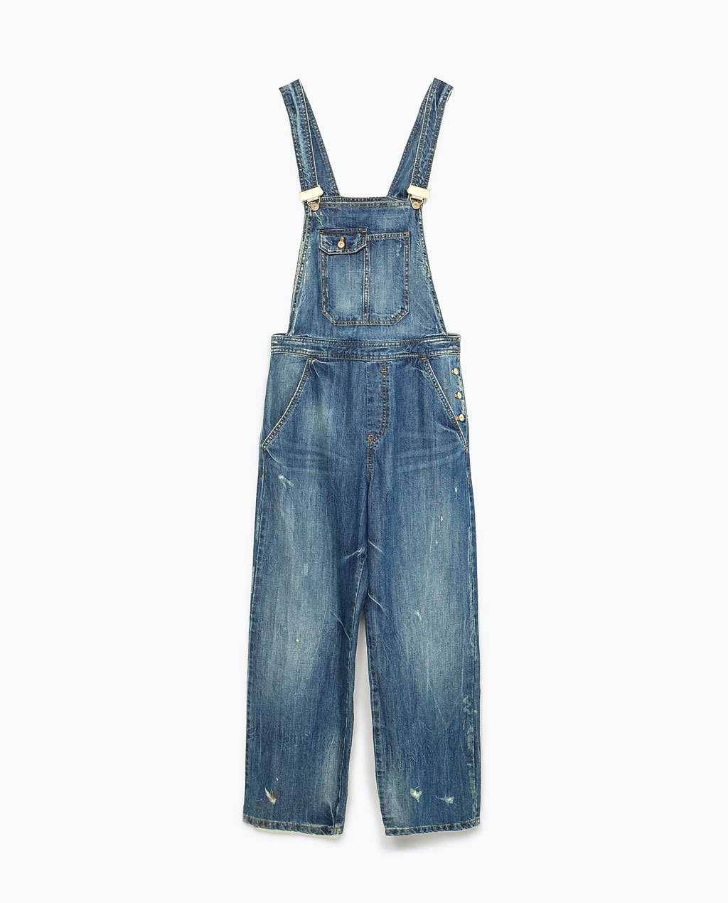 Wide Leg Dungarees - length: standard; sleeve style: standard vest straps/shoulder straps; fit: loose; pattern: plain; predominant colour: denim; occasions: casual, creative work; fibres: cotton - 100%; sleeve length: sleeveless; texture group: denim; style: dungarees; neckline: low square neck; season: s/s 2015; wardrobe: highlight