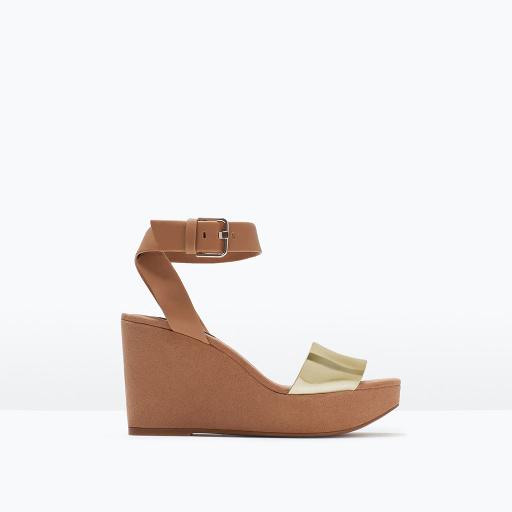Buckled Ankle Strap Wedges - predominant colour: tan; secondary colour: gold; material: faux leather; heel height: high; ankle detail: ankle strap; heel: wedge; toe: open toe/peeptoe; style: strappy; finish: plain; pattern: colourblock; occasions: creative work; shoe detail: platform; season: s/s 2015; wardrobe: highlight