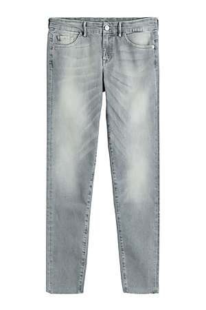 Cropped Skinny Jeans Grey - style: skinny leg; length: standard; pattern: plain; pocket detail: traditional 5 pocket; waist: mid/regular rise; predominant colour: denim; occasions: casual; fibres: cotton - stretch; jeans detail: whiskering, washed/faded; texture group: denim; pattern type: fabric; season: s/s 2015; wardrobe: basic