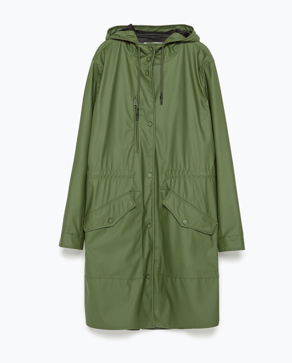 Waterproof Parka - pattern: plain; fit: loose; style: parka; collar: high neck; length: mid thigh; predominant colour: khaki; occasions: casual; fibres: polyester/polyamide - 100%; sleeve length: long sleeve; sleeve style: standard; texture group: technical outdoor fabrics; collar break: high; pattern type: fabric; season: s/s 2015; wardrobe: basic