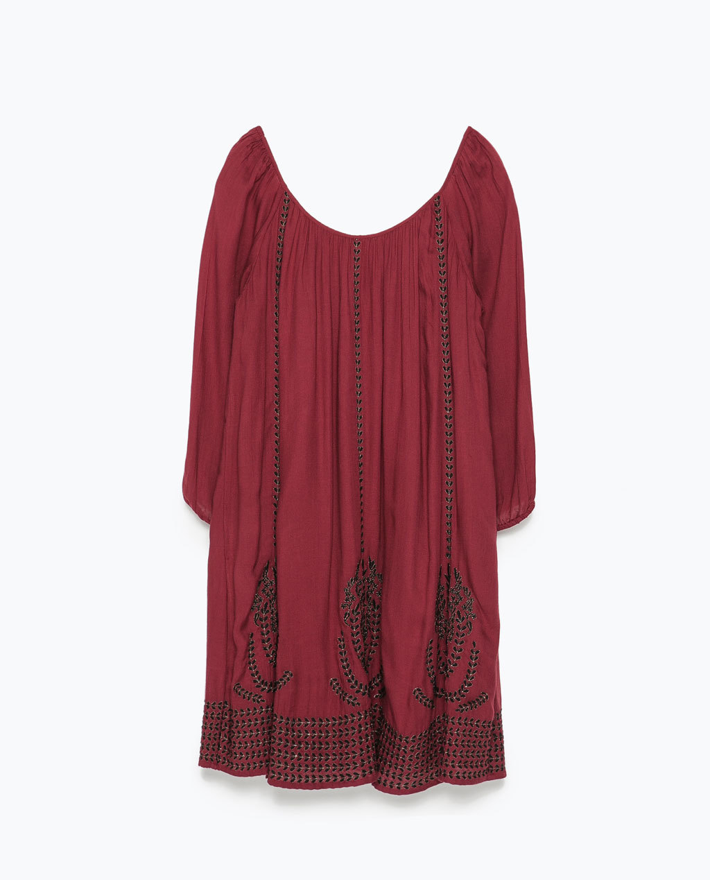 Embroidered Dress - style: smock; length: mid thigh; fit: loose; pattern: plain; sleeve style: balloon; occasions: casual; neckline: scoop; sleeve length: 3/4 length; texture group: cotton feel fabrics; pattern type: fabric; pattern size: standard; embellishment: embroidered; predominant colour: raspberry; season: s/s 2015; wardrobe: highlight