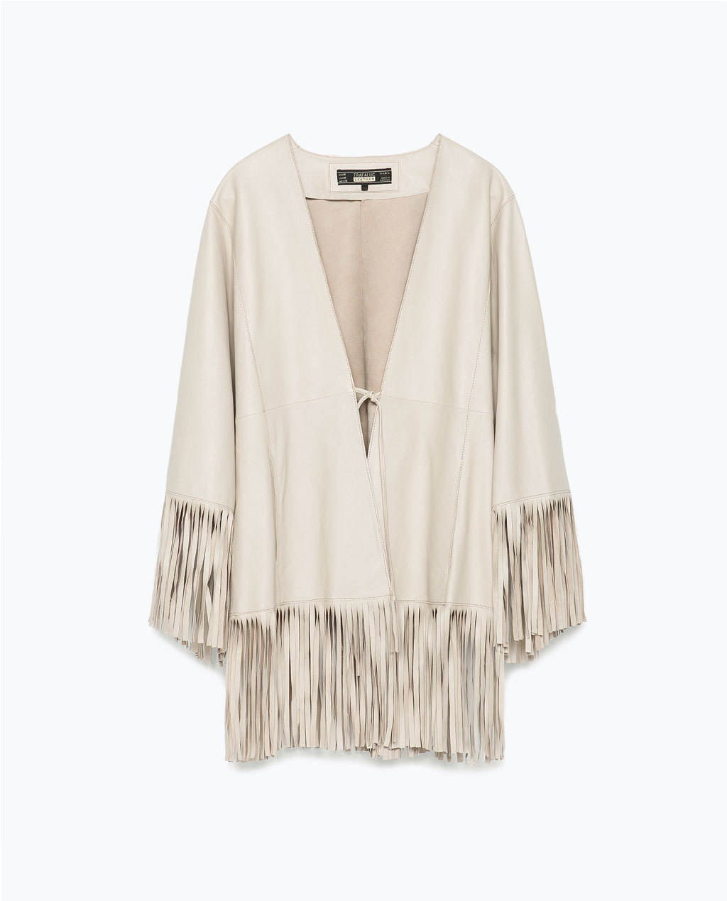 Leather Fringed Poncho - pattern: plain; length: below the bottom; collar: round collar/collarless; fit: loose; style: poncho/blanket; predominant colour: ivory/cream; occasions: casual, evening, creative work; fibres: leather - 100%; sleeve length: long sleeve; sleeve style: standard; texture group: leather; collar break: low/open; pattern type: fabric; embellishment: fringing; season: s/s 2015; wardrobe: highlight; embellishment location: hip, sleeve/cuff
