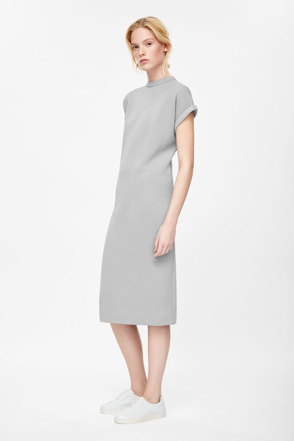 Dress With Rolled Sleeves - style: shift; length: below the knee; pattern: plain; neckline: high neck; predominant colour: light grey; occasions: casual, creative work; fit: straight cut; sleeve length: short sleeve; sleeve style: standard; pattern type: fabric; texture group: other - light to midweight; season: s/s 2015; wardrobe: basic
