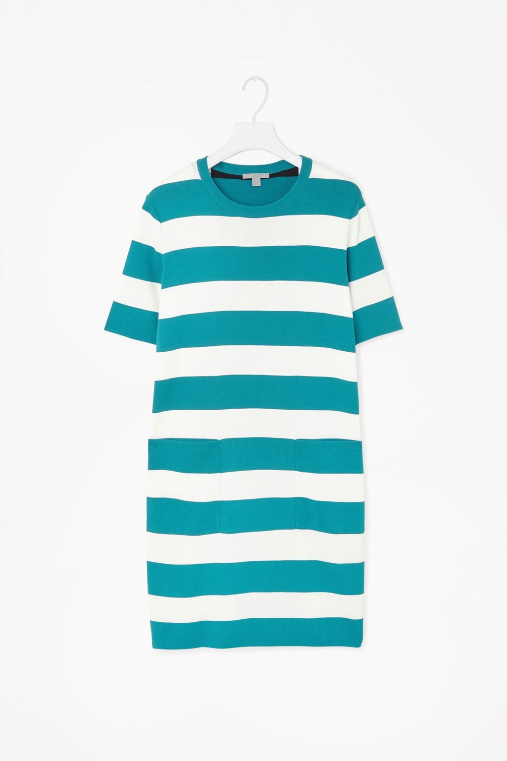 Block Stripe Knitted Dress - style: shift; length: mid thigh; fit: loose; pattern: horizontal stripes; predominant colour: turquoise; occasions: casual; fibres: cotton - mix; neckline: crew; sleeve length: short sleeve; sleeve style: standard; texture group: knits/crochet; pattern type: knitted - fine stitch; pattern size: standard; season: s/s 2015; wardrobe: highlight
