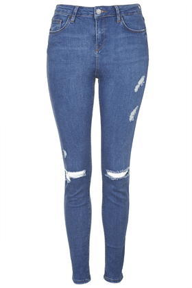 Tall Moto Blue Rip Jamie Jeans - style: skinny leg; length: standard; pattern: plain; pocket detail: traditional 5 pocket; waist: mid/regular rise; predominant colour: diva blue; occasions: casual, creative work; fibres: cotton - stretch; texture group: denim; pattern type: fabric; jeans detail: rips; season: s/s 2015; wardrobe: highlight