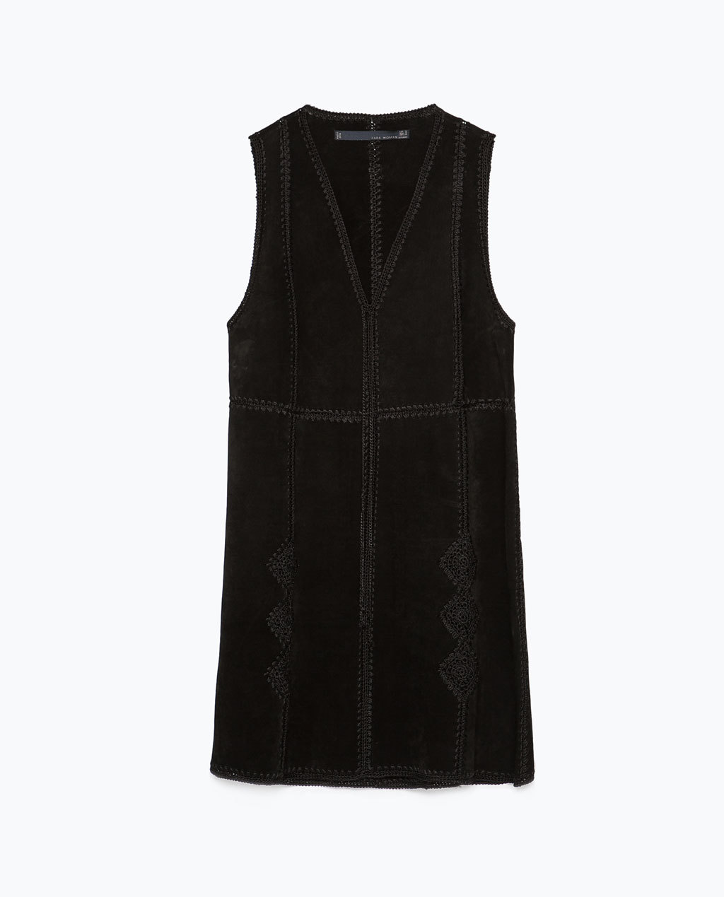 Suede Dress - style: shift; length: mid thigh; neckline: low v-neck; pattern: plain; sleeve style: sleeveless; predominant colour: black; occasions: casual; fit: straight cut; fibres: leather - 100%; sleeve length: sleeveless; pattern type: fabric; texture group: suede; embellishment: embroidered; season: s/s 2015; wardrobe: highlight; embellishment location: hip